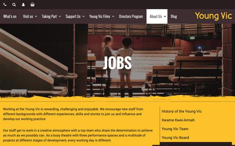 Screenshot of Jobs Page youngvic.org - Jobs | Young Vic website - captured Nov. 7, 2018
