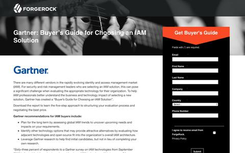 Screenshot of Landing Page forgerock.com - Gartner Report: Buyer's Guide for Choosing an IAM Solution - captured March 4, 2018