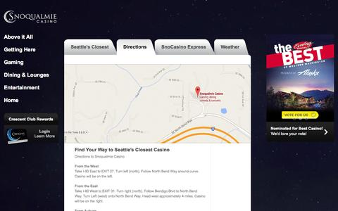 Screenshot of Maps & Directions Page snocasino.com - Getting Here | Welcome to Snoqualmie Casino - captured Sept. 24, 2014