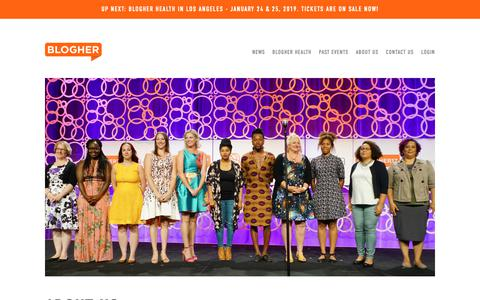 Screenshot of About Page blogher.com - About Us | BlogHer - captured Nov. 3, 2018