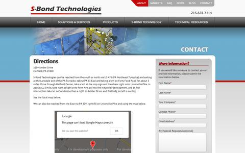 Screenshot of Maps & Directions Page s-bond.com - Directions | S-Bond Technologies | Aluminum Brazing, Bonding-Soldering » S-Bond - captured Oct. 1, 2018
