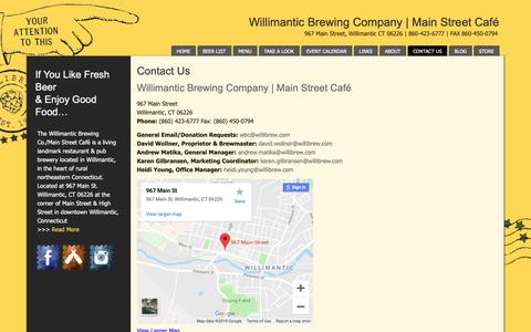 Screenshot of Contact Page willibrew.com - Willimantic Brewing Co. & Main Street Cafe | Contact Us - captured Nov. 16, 2018