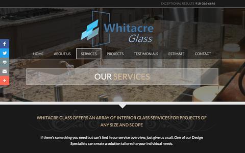 Screenshot of Services Page whitacreglass.com - Quality Glass Services   Whitacre Glass Works - captured Oct. 18, 2018