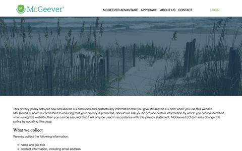Screenshot of Privacy Page mcgeeverllc.com - Privacy Policy • McGeever LLC - captured Sept. 20, 2018