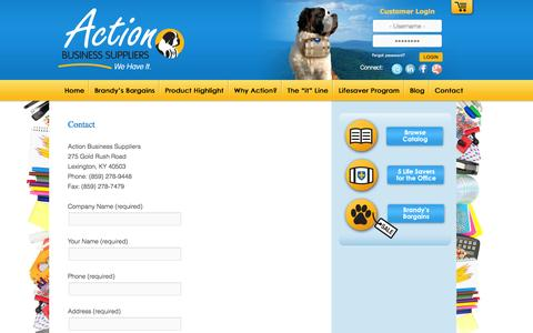 Screenshot of Contact Page actionbusiness.com - Contact | Action Business Suppliers - captured Oct. 4, 2014