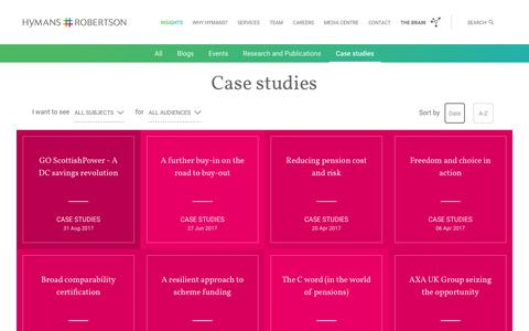Screenshot of Case Studies Page hymans.co.uk - Case studies - Hymans Robertson - captured Aug. 31, 2019