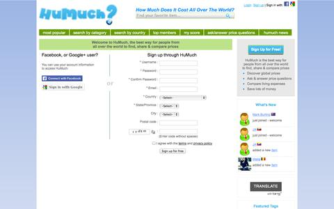 Screenshot of Signup Page humuch.com - HuMuch - Find, Share and Compare Prices Around the World - captured Sept. 30, 2014