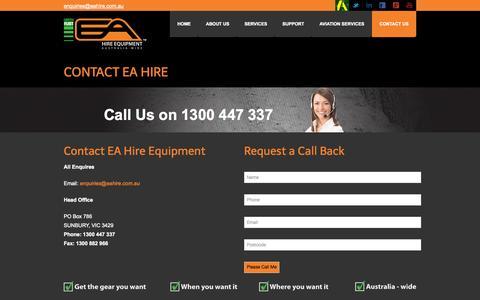 Screenshot of Contact Page eahire.com.au - Contact EA Hire - captured Oct. 1, 2014