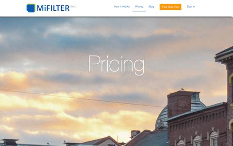 Screenshot of Pricing Page mifilter.com - MiFilter Pricing | Portland, Maine - captured Oct. 27, 2014