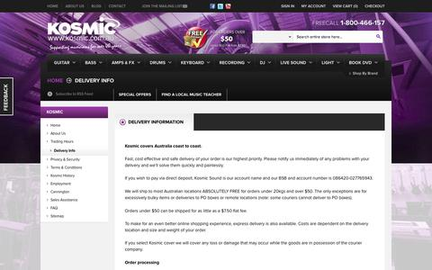 Screenshot of Support Page kosmic.com.au - Delivery Info - Online Music Store Australia - Kosmic Sound - captured Oct. 27, 2014