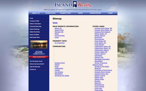 Screenshot of Site Map Page islandrealty.info - Fripp Island Real Estate, Harbor Island Homes, Coosaw Point Investment Property - Island Realty - captured Sept. 19, 2014