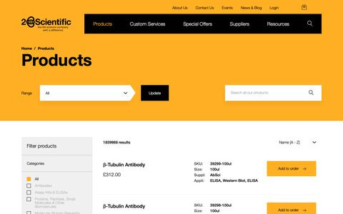 Screenshot of Products Page 2bscientific.com - Products | Browse our Life Science Products - 2B Scientific - captured Oct. 20, 2018