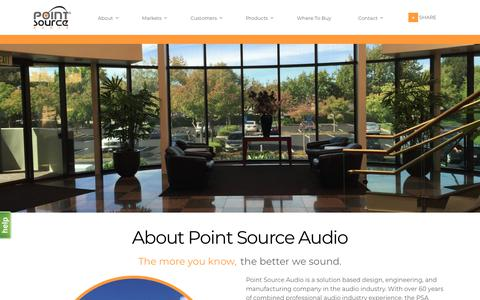 Screenshot of About Page point-sourceaudio.com - About Our Company and Brand | Point Source Audio - captured July 19, 2018