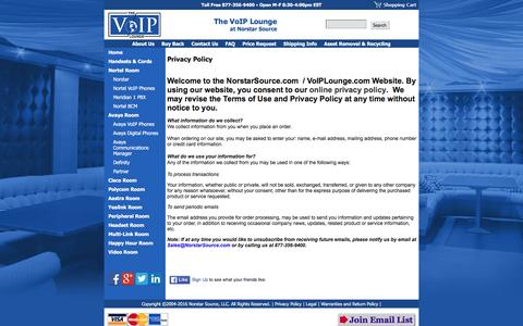 Screenshot of Privacy Page voiplounge.com - Nortel, Avaya, Polycom and Cisco VOIP Phones, Multi-link, PBX systems - captured Feb. 15, 2016