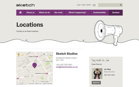 Screenshot of Locations Page sketchstudios.co.uk - UK's leading office furniture & interior solutions specialist | Sketch - captured Oct. 26, 2014