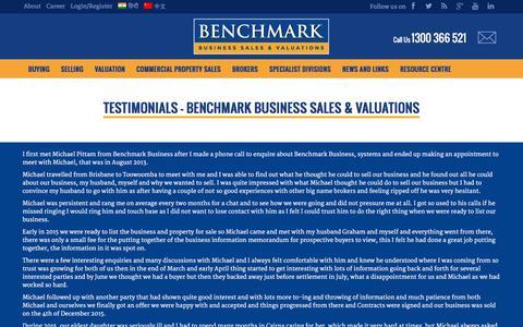 Screenshot of Testimonials Page benchmarkbusiness.com.au - Testimonials - Benchmark Business Sales & Valuations - Benchmark Business Sales & Valuations - captured Feb. 7, 2016