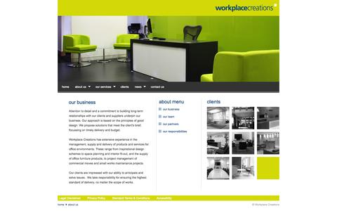 Screenshot of About Page workplace-creations.co.uk - Workplace Creations - Our business - captured Oct. 7, 2014
