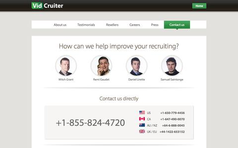 Screenshot of Contact Page vidcruiter.com - Online Webcam Video Job Interviews - VidCruiter - captured Oct. 26, 2014