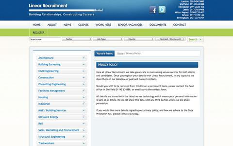 Screenshot of Privacy Page linearrecruitment.co.uk - Linear Recruitment Privacy Policy - captured Sept. 30, 2014