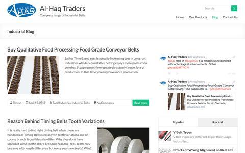 Screenshot of Blog alhaqtraders.com - Industrial Belts | Transmission, Food, PVC PU Conveyor Belting Blog - captured May 29, 2017