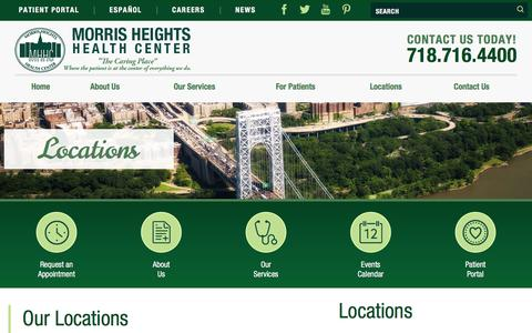 Screenshot of Locations Page mhhc.org - Locations | Morris Heights Health Center - captured Feb. 24, 2016