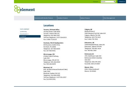 Screenshot of Locations Page elementcorp.com - Locations | Our Company | Element Financial Corporation - captured July 19, 2014