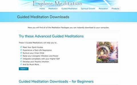 Screenshot of Products Page exploremeditation.com - Guided Meditation Downloads | Explore Meditation - captured Oct. 18, 2018