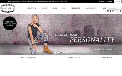 Screenshot of Home Page zaraterez.com - Zara Terez | Printed Leggings - Made in USA - captured Sept. 13, 2015