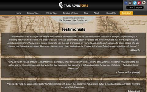 Screenshot of Testimonials Page trailadventours.com - Testimonials | - captured Sept. 30, 2014
