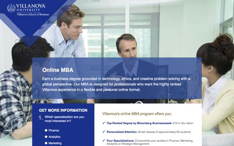 Screenshot of Landing Page villanova.edu - Villanova University | Online MBA Villanova - captured Feb. 11, 2016