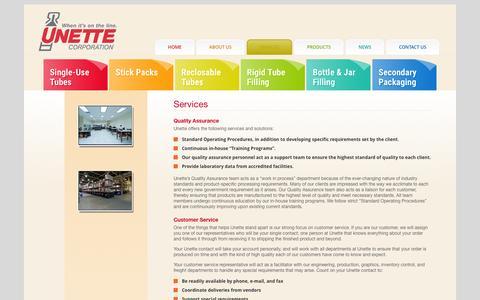 Screenshot of Services Page unette.com - Services | Unette Corporation - captured Dec. 18, 2016