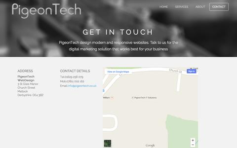 Screenshot of Contact Page pigeontech.co.uk - PigeonTech - Contact us - captured Oct. 27, 2014