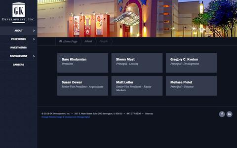 Screenshot of Team Page gkdevelopment.com - Our People | GK Development, Inc. - captured Sept. 25, 2018