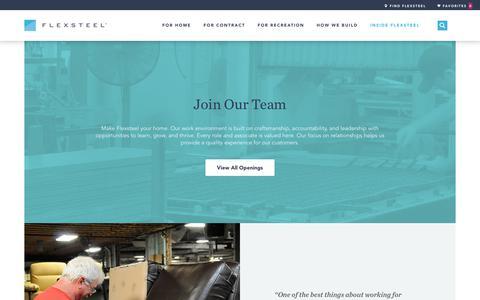 Screenshot of Jobs Page flexsteel.com - Flexsteel Careers | View Current Openings and Job Opportunities - captured Sept. 10, 2018