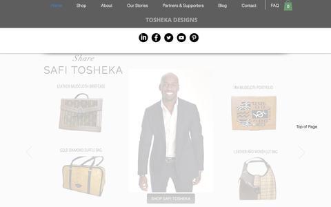 Screenshot of Home Page toshekadesigns.com - Tosheka's Designs Handbags, Homegoods and Jewelry - captured Nov. 13, 2017