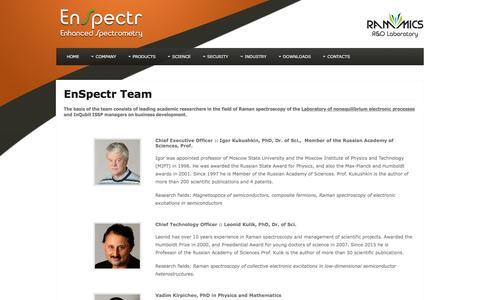 Screenshot of Team Page enspectr.com - EnSpectr Team | EnSpectr - captured Nov. 8, 2016