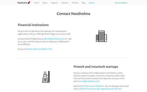 Screenshot of Contact Page nestholma.com - Contact Nestholma   Nestholma - captured Oct. 19, 2018