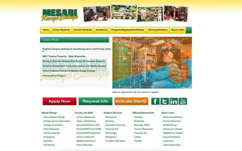 Screenshot of Home Page mesabirange.edu - Mesabi Range College    Home - captured Oct. 6, 2014