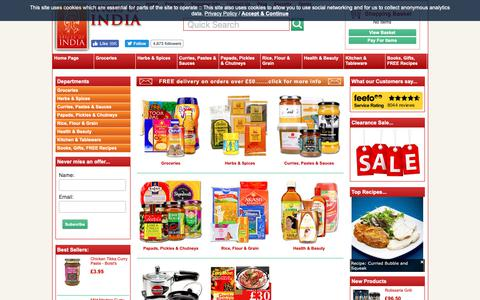 Screenshot of Products Page spicesofindia.co.uk - Indian Food | Buy online - captured Oct. 19, 2018