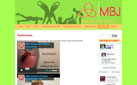 Screenshot of Testimonials Page mbjhealthandfitness.com - Testimonials - MBJ Health and Fitness - captured Oct. 27, 2014