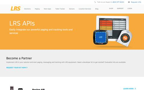 Screenshot of Developers Page lrsus.com - Paging System API Solutions | LRSus.com - captured Sept. 23, 2018