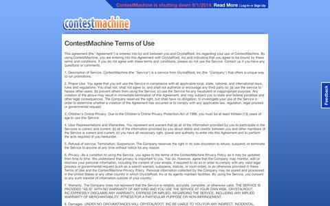 Screenshot of Terms Page contestmachine.com - ContestMachine: site - captured Sept. 10, 2014