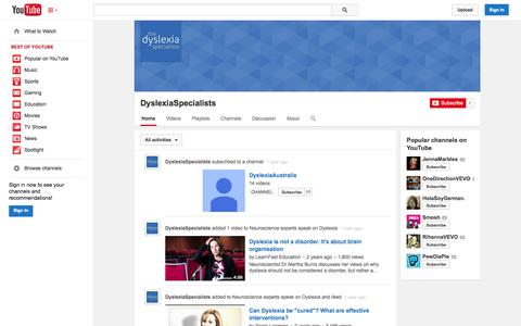 Screenshot of YouTube Page youtube.com - DyslexiaSpecialists  - YouTube - captured Oct. 26, 2014