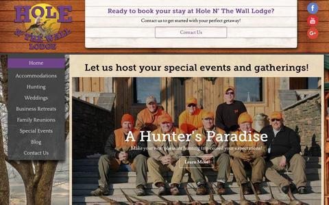Screenshot of Home Page holenthewalllodge.com - Hole N' The Wall Lodge - Akron, IA - captured April 27, 2017