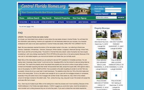 Screenshot of FAQ Page centralfloridahomes.org - FAQ | Orlando real estate and Kissimmee homes for sale by Michael K Johnson - captured Oct. 2, 2014