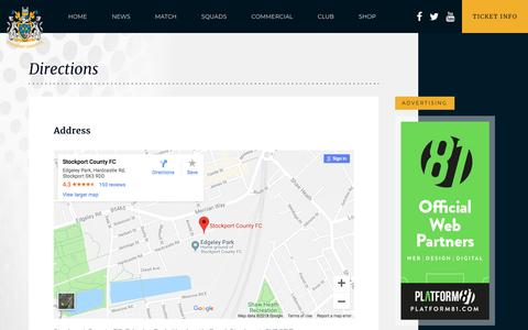 Screenshot of Contact Page Maps & Directions Page stockportcounty.com - Directions - Stockport County - captured Sept. 23, 2018