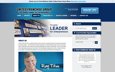 Screenshot of About Page unitedfranchisegroup.com - Business Franchise Opportunities | United Franchise GroupUNITED FRANCHISE GROUP The Global Leader for Entrepreneurs - captured Oct. 27, 2014