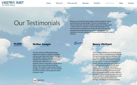 Screenshot of Testimonials Page vestrainet.com - Testimonials - captured Jan. 13, 2016