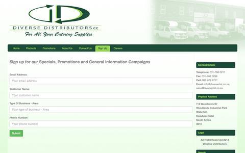 Screenshot of Signup Page diversedist.co.za - » Sign Up - captured Oct. 29, 2014
