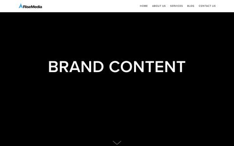 Screenshot of Services Page risemedia.co.uk - Brand Content   Rise Media - captured Sept. 21, 2018
